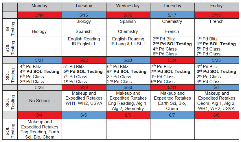 May SOL Testing Schedule
