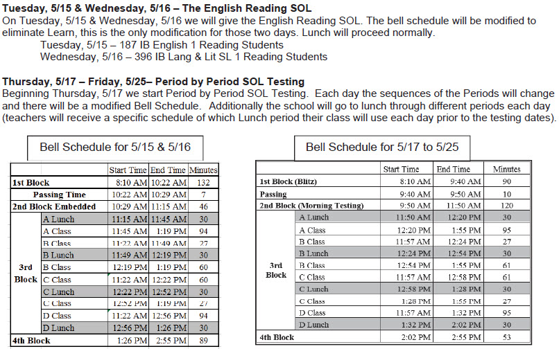 May SOL Testing Bell Schedule